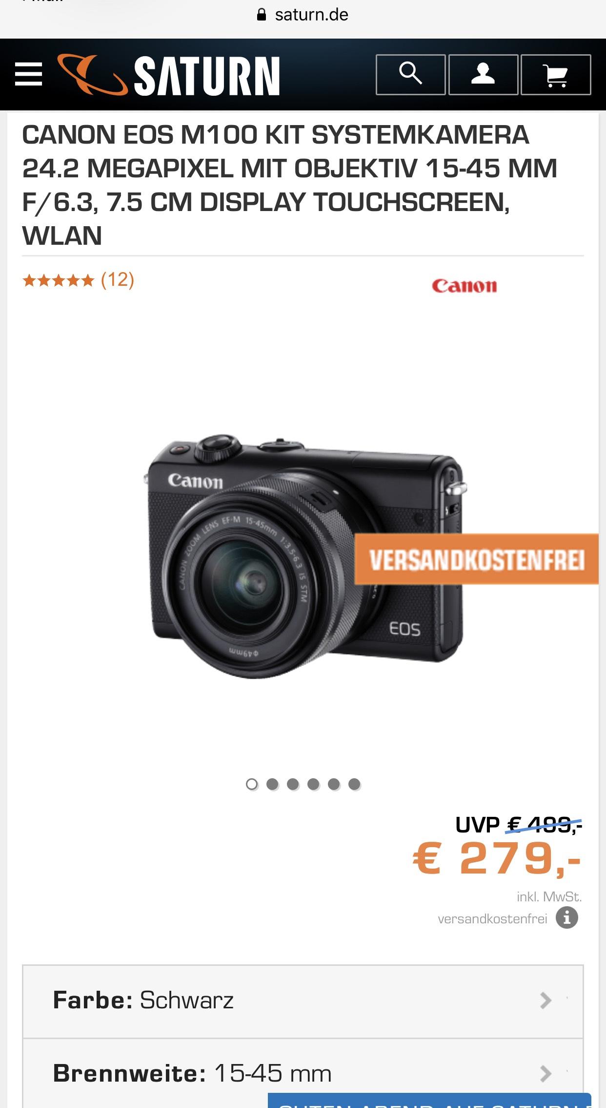 [Saturn] [Amazon] Canon EOS M100 Kit 15-45 mm
