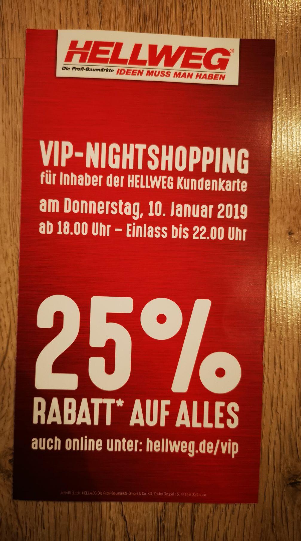 Hellweg 25% Rabatt für alle Inhaber der Hellweg Kundenkarte