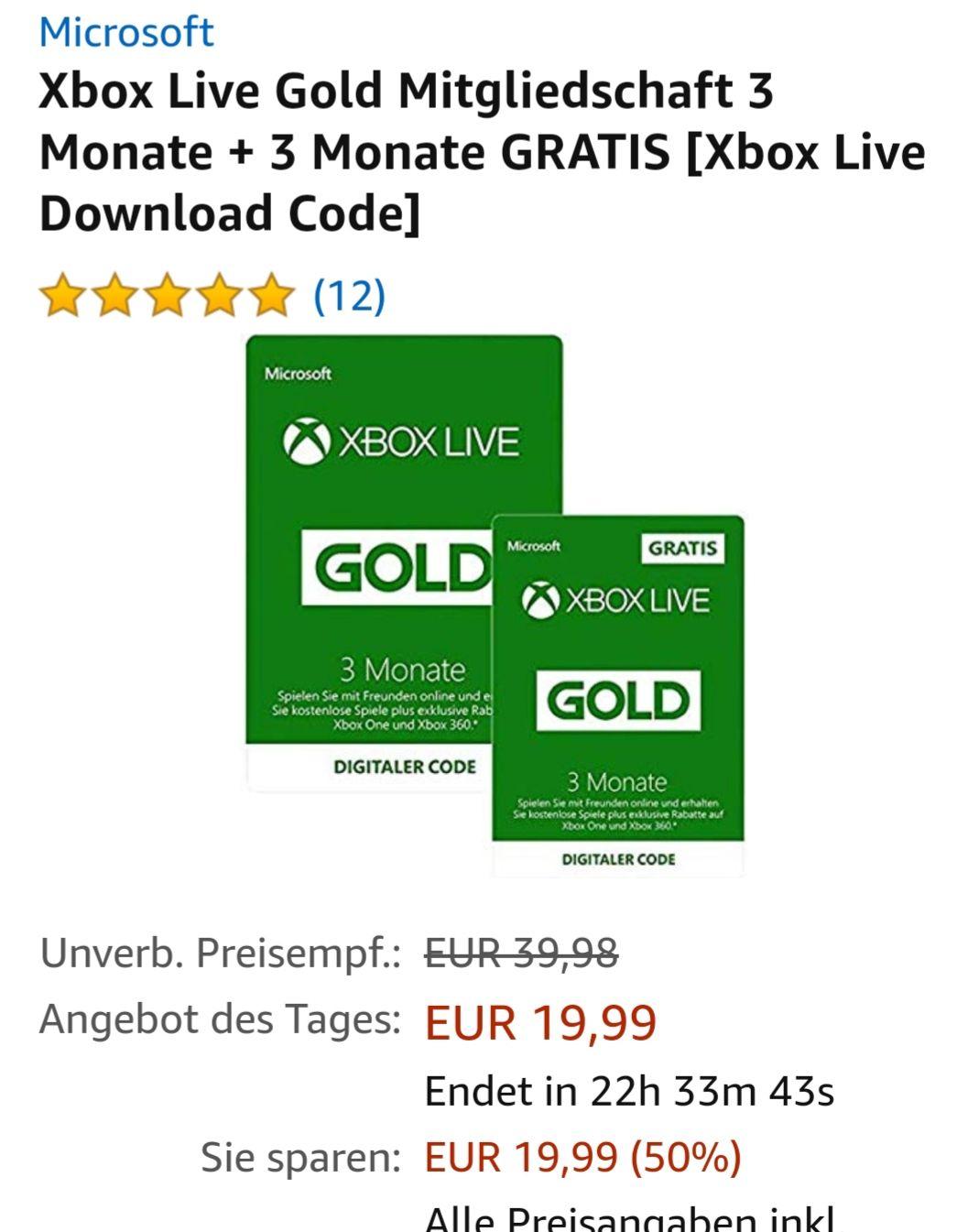 [Amazon] 6 Monate Xbox Live Gold für 19,99