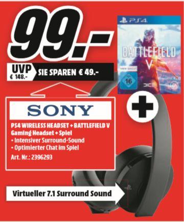 [Regional Mediamarkt Krefeld-Nur Heute] Sony PlayStation Gold Wireless Headset schwarz + Battlefield V für 99,-€