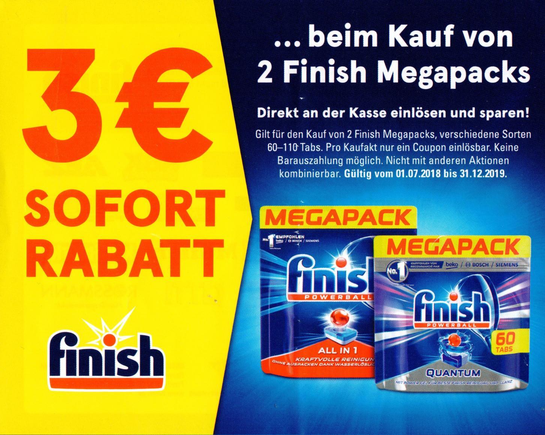 Neue 1€,2€,3€ & 4€ Sofort-Rabatt-Coupons für Finish Produkte (31.12.2019)