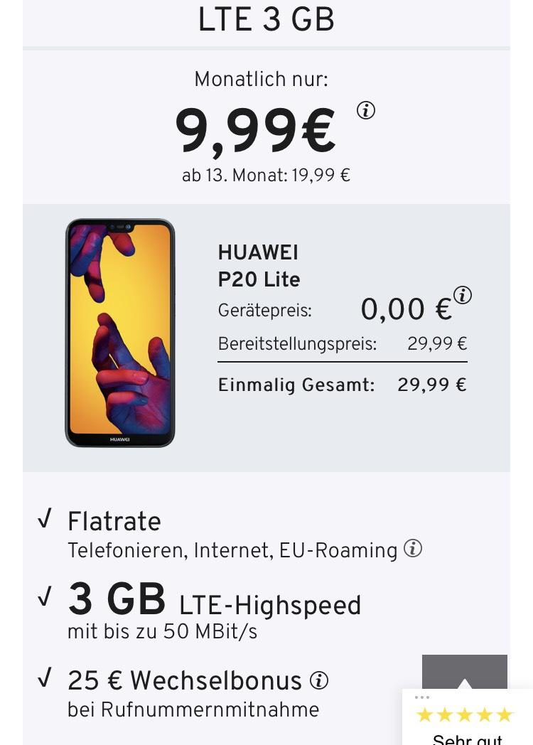 LTE 3 GB + HUAWEI P20 Lite Midnight Black