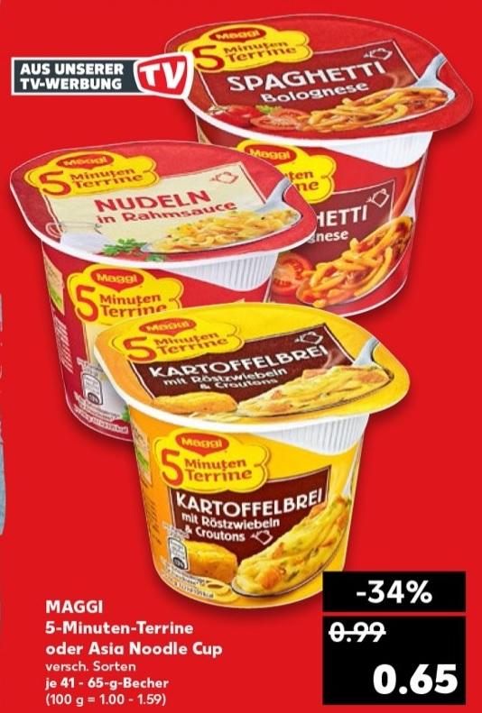 [ Kaufland bundesweit ] 6x Maggi 5 Minuten Terrine oder Asia Noodle Cups für 2,40€ (entspr. 0,40€ pro Becher) - Angebot + Coupon