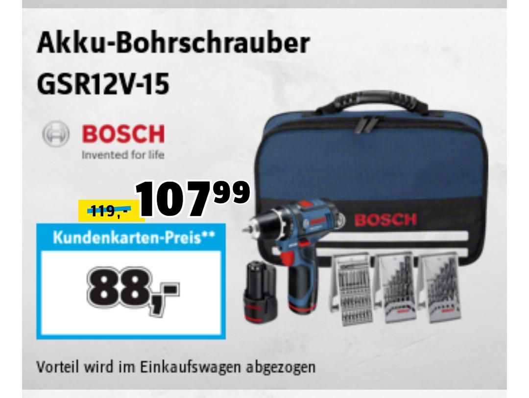 Conrad on- und offline: Bosch GSR 12V-15 Akkuschrauber inkl. Schnellladegerät, 2x 1,5 Ah Akkus und 39-teiliges Bit- und Bohrer-Set in Tasche