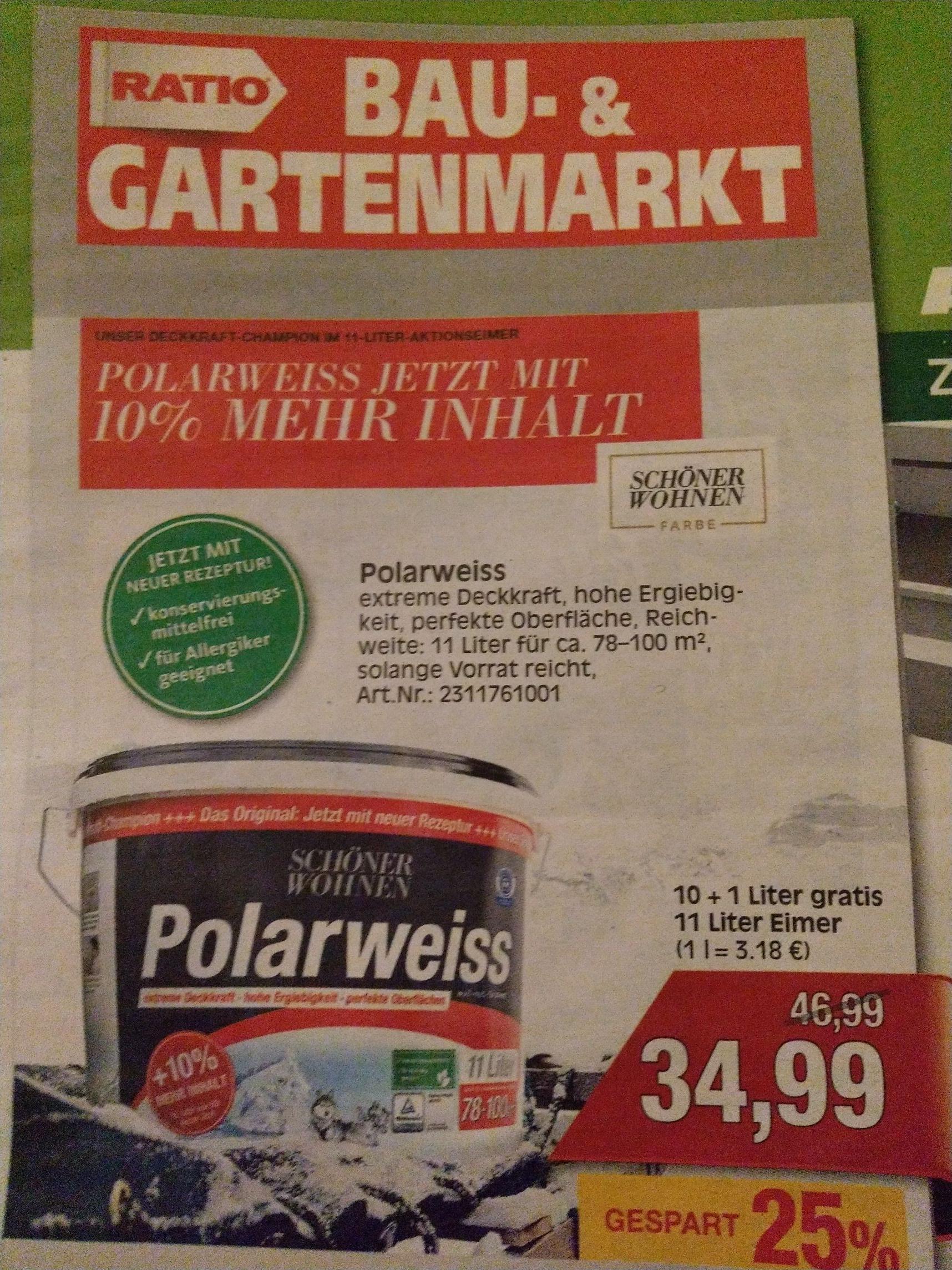 Schöner Wohnen Polarweiss 11 Liter 30,79€ Tiefpreisgarantie Bauhaus  durch Angebot im Ratio Baunatal,