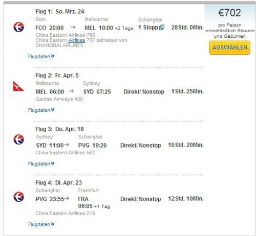 Gabelflüge : Rom-Australien-Frankfurt ab 702€ (Hin&Rückflug)