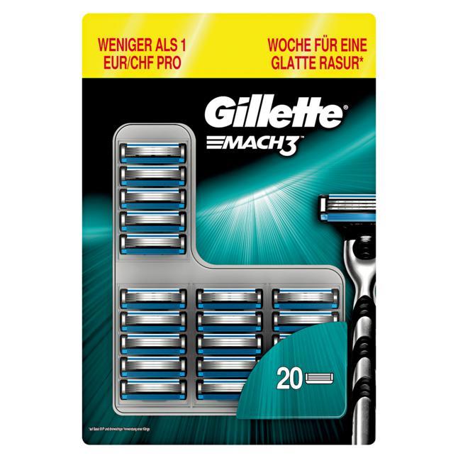 Gillette Mach3 20er Packung für nur 24,29€ oder Fusion5 12er für 21,59€