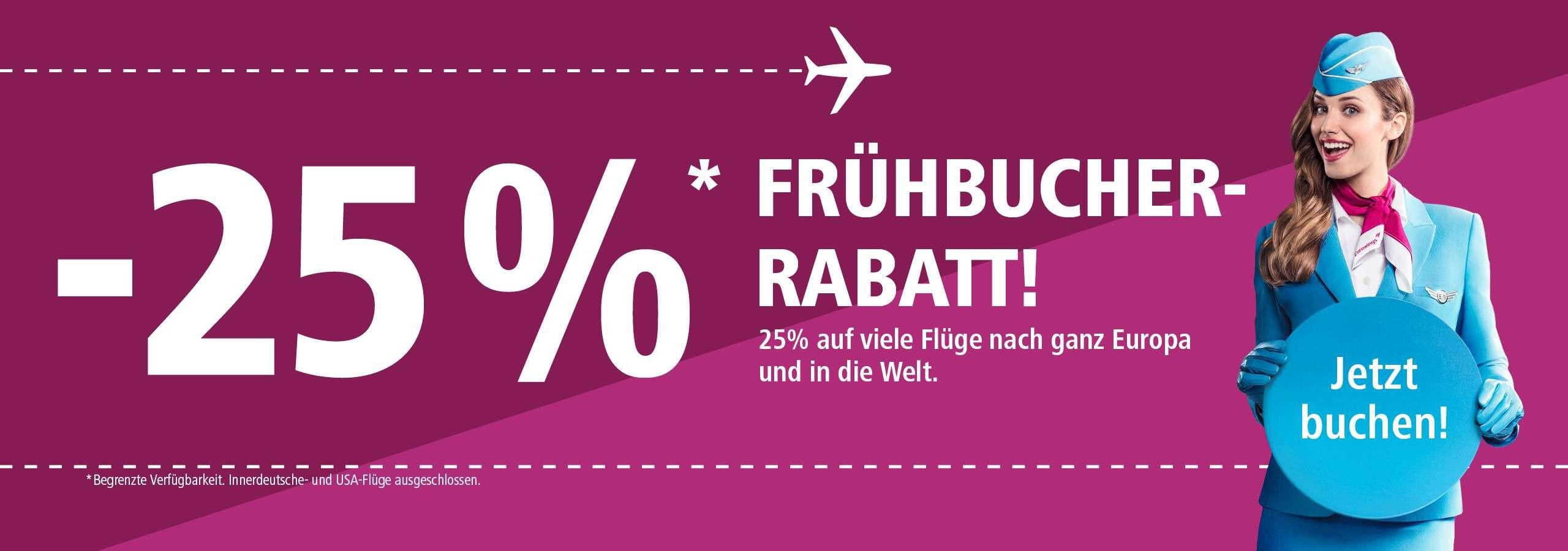 25 % Rabatt bei Eurowings (innerdeutsche und USA-Flüge ausgeschlossen)