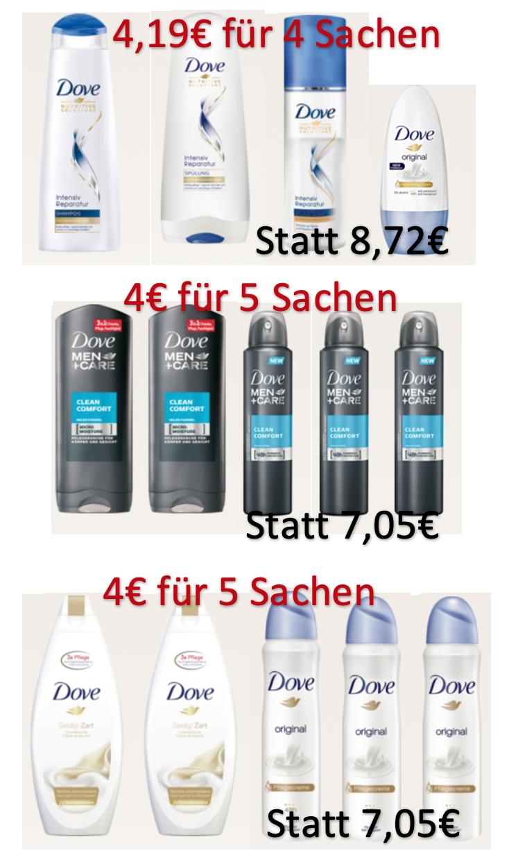 5 Dove oder Dove Men Produkte für 4€: Kombination aus Angebotspreis + 2€ Sofortrabatt Coupon + 10% aus der App (somit je 0,80€) bei Rossmann