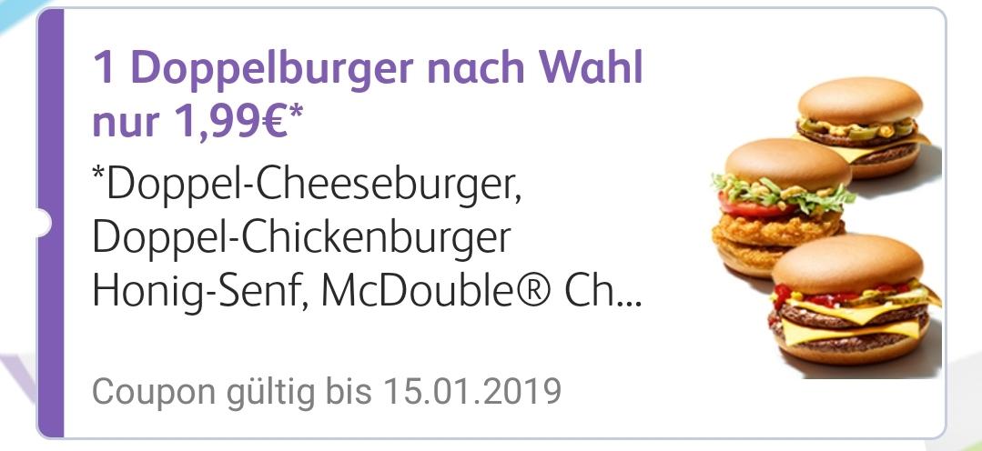 McDonald's Doppelburger nach Wahl nur 1.99 app coupon