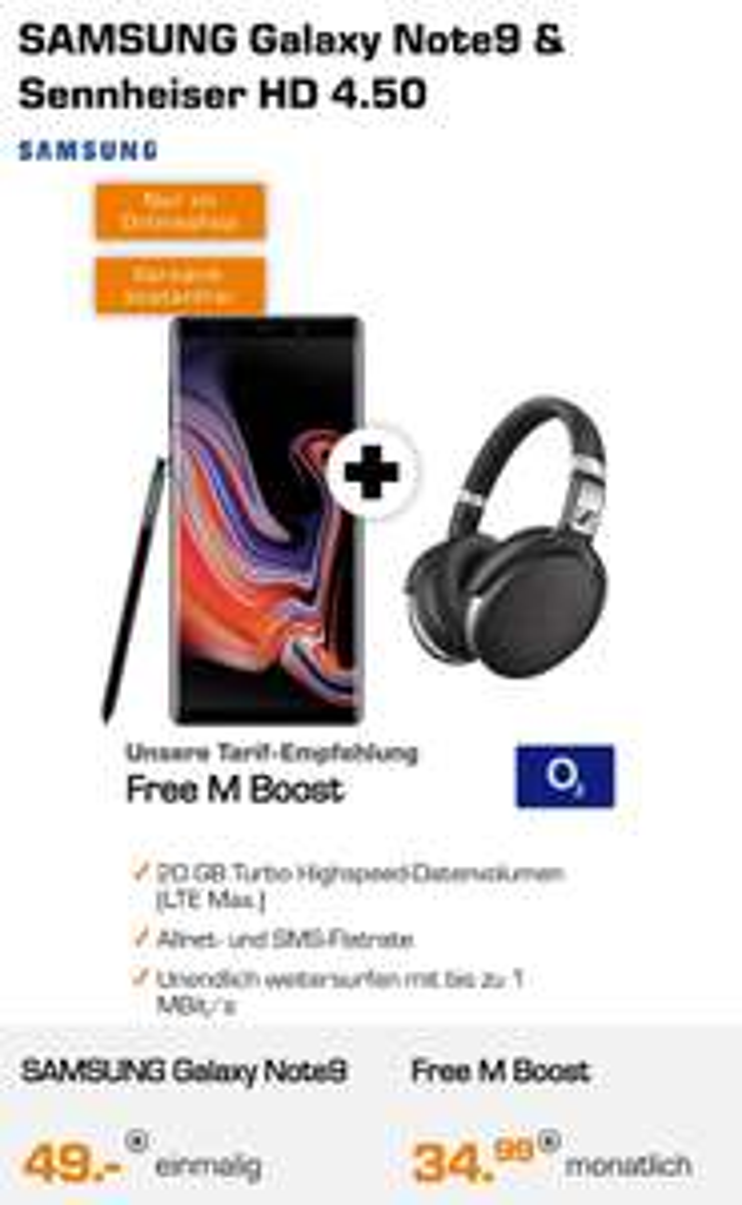 O2 Free M Boost 20GB + Samsung Galaxy Note 9 + Sennheiser HD 4.50 Schwarz