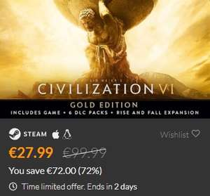 [Steam] Sid Meier's Civilization VI Gold Edition inkl. Rise and Fall DLC uvm.