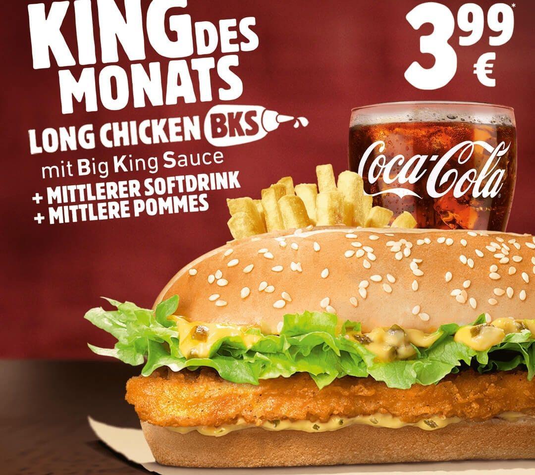 Burger King - King des Monats: Long Chicken mit Big King Sauce im Menü für nur 3.99€