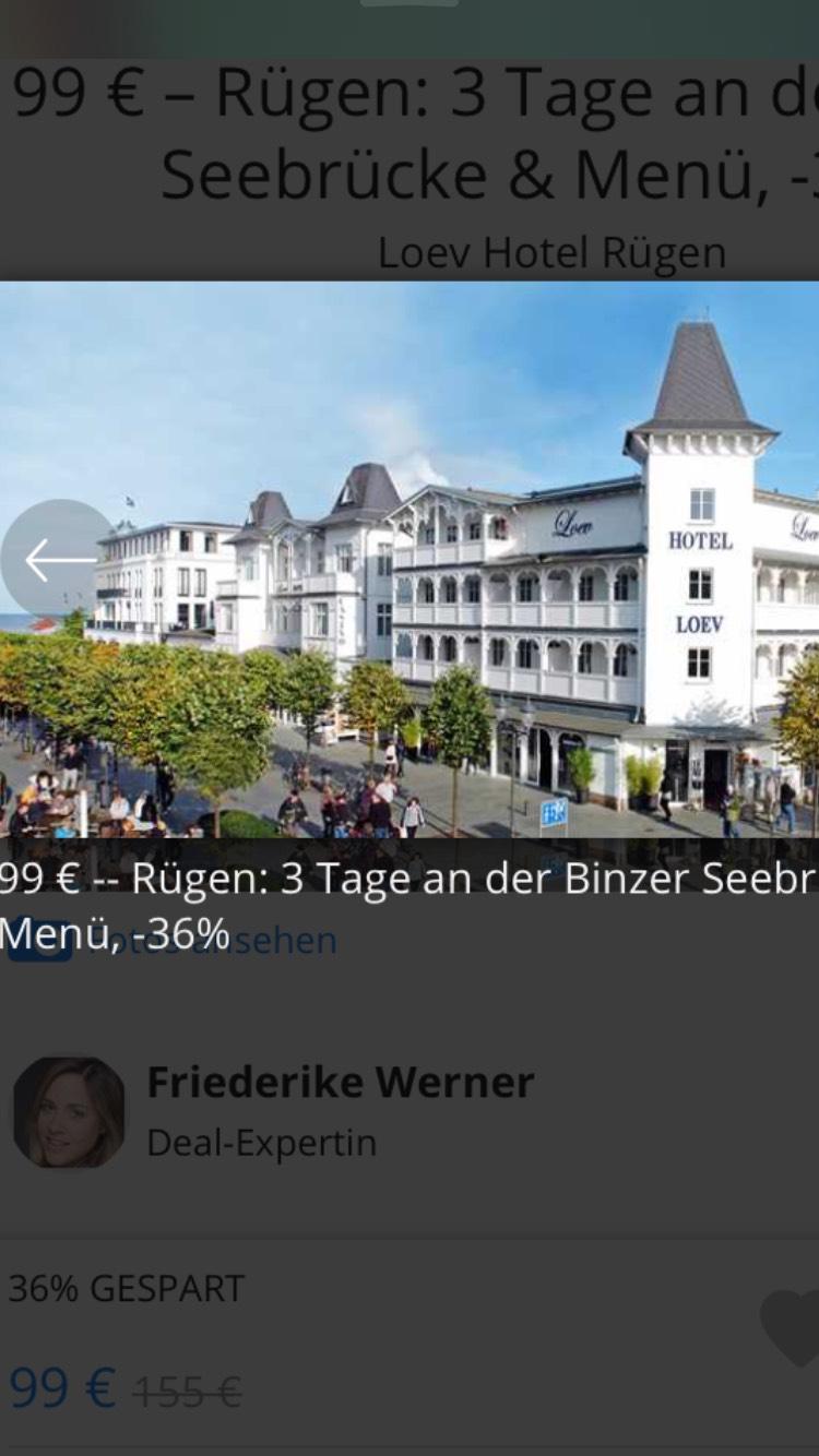 99 € -- Rügen: 3 Tage an der Binzer Seebrücke & Menü bei Travelzoo