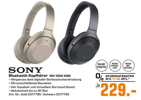 [Regional Saturn Hamburg/Norderstedt-Alle Märkte] SONY WH-1000XM2, Over-ear Kopfhörer,NFCHeadsetfunktion, Bluetooth für 229,-€