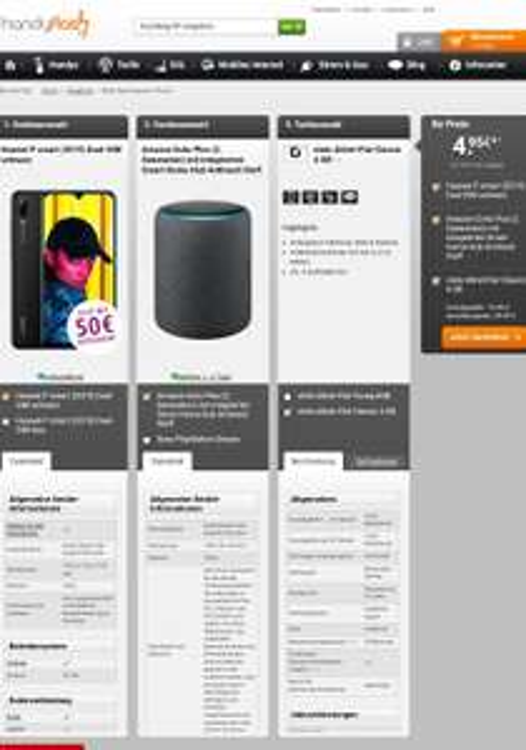 Huawei P Smart 2019 Dual Sim + Amazon Echo Plus(2.Gen. 149,99€) + 50€ Gutschein  eff. 1,49 €/Monat + Otelo AllNet Classic 4 GB  Vodafone