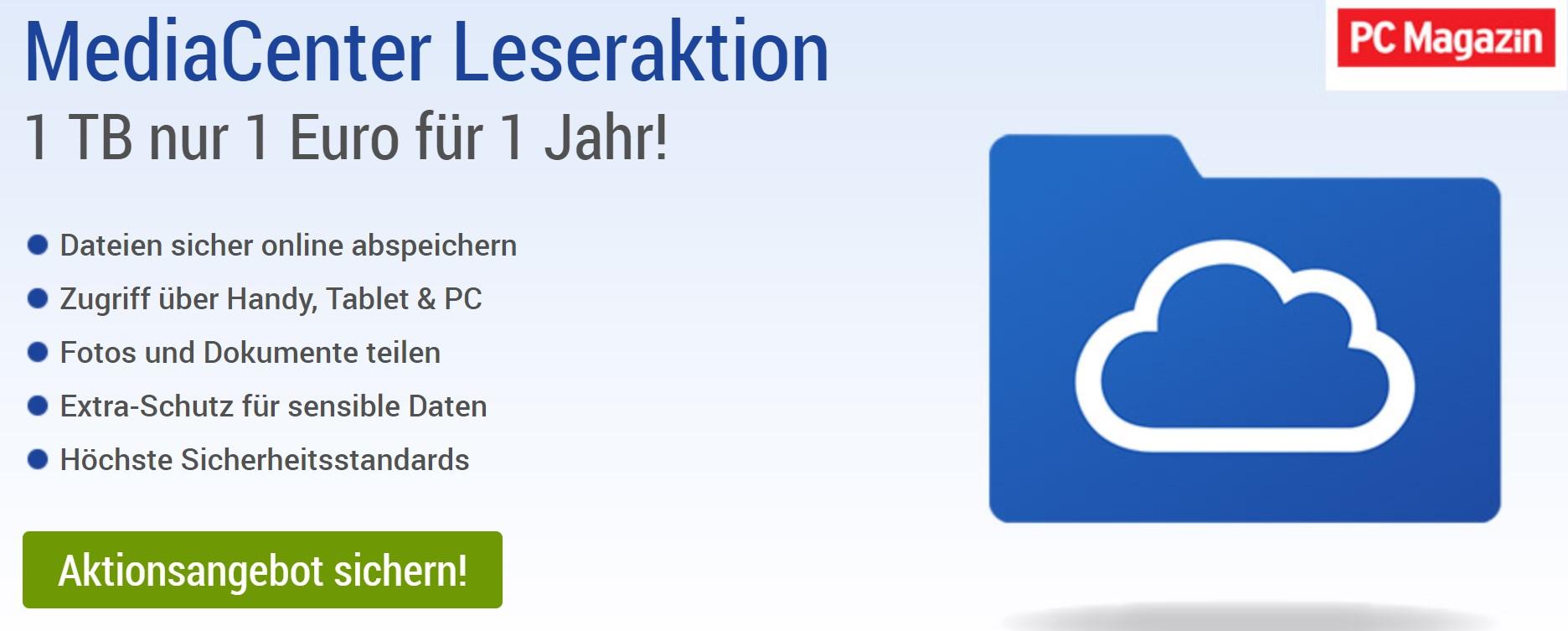 1 TB nur 1 Euro für 1 Jahr bei GMX oder WEB.de (ohne Kündigung automatische Verlängerung)