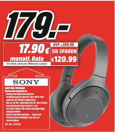 [Regional Mediamarkt Essen] SONY WH-1000XM2, Over-ear Kopfhörer, NFC, Headsetfunktion, Bluetooth, Schwarz für 179,-€