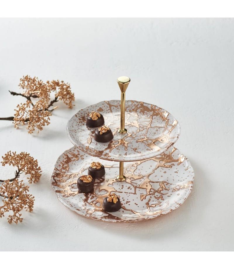 10% extra Rabatt auf den Sale bei Leonardo, z.B. Etagere Velluto in Weiß/Gold aus Glas