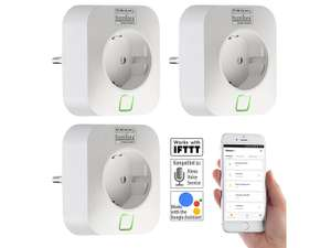 Luminea Home Control WLAN-Steckdose, Alexa Google Home kompatibel 3er Set