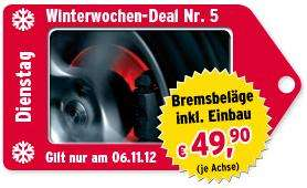 Nur heute: Bremsbeläge inkl. Einbau für 49,90 € pro Achse