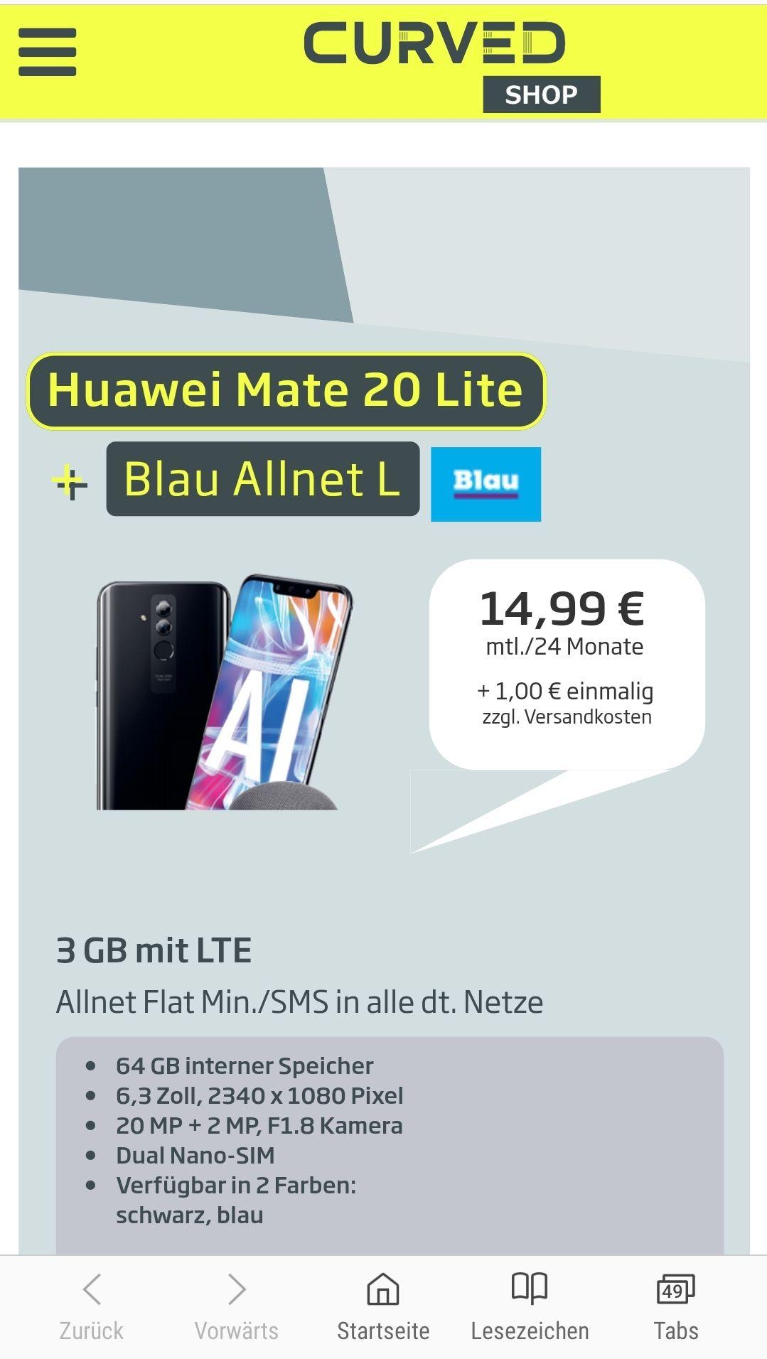 Huawei MATE 20 lite + SoundStone CM51 + Blau Allnet Flat 3 GB effektiv 4,80€/Monat