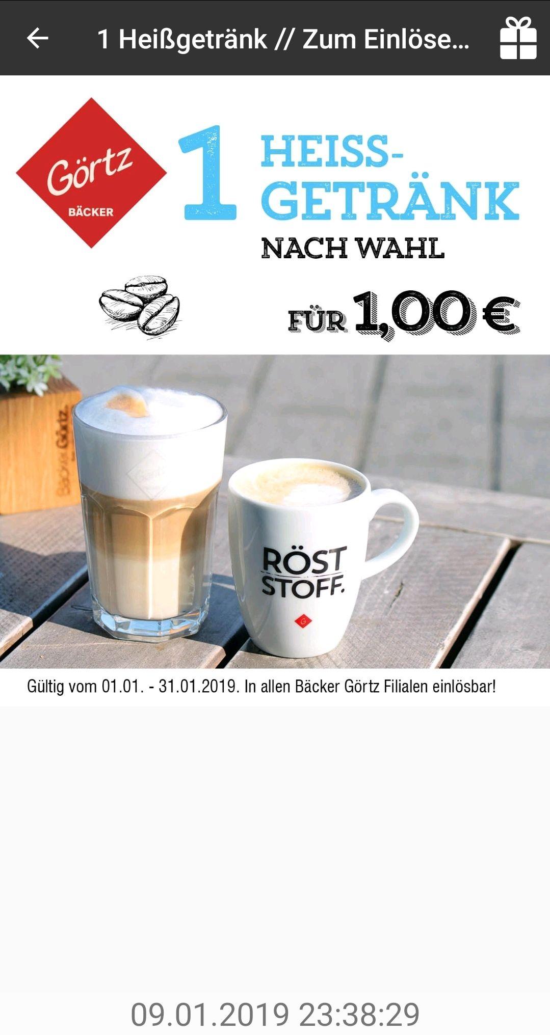 Bäckerei Görtz 1 x Heißgetränk nach Wahl 1,50€ (Kaffee o. Heiße Schokolade) bis 31.01.2019