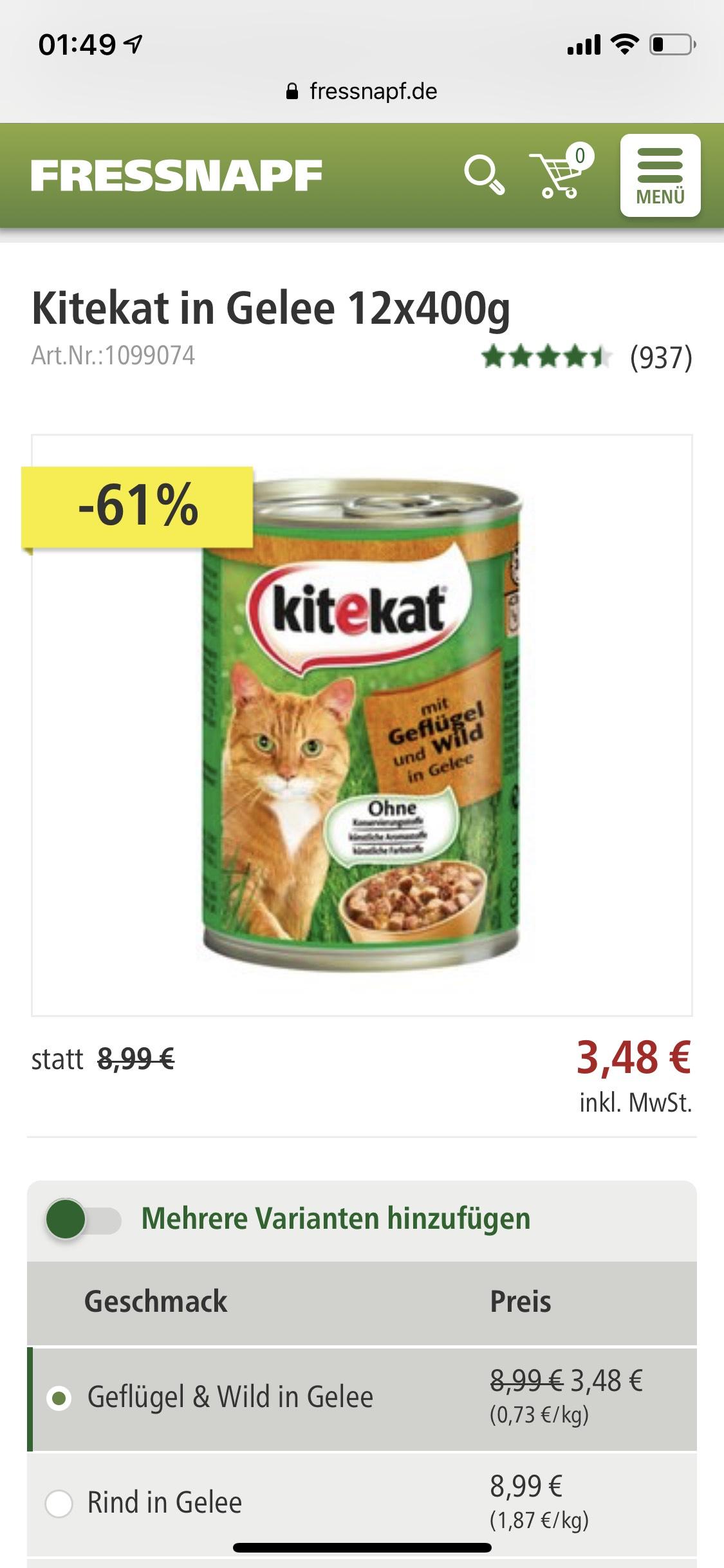 Kitekat in Gelee 12x400 0,73€/kg Katzenfutter