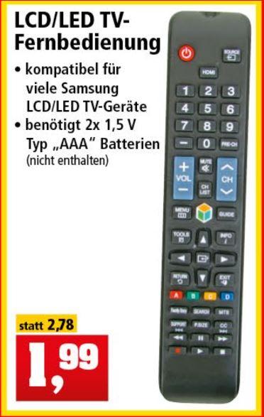 TV Fernbedienung Samsung kompatibel für 1,99 Euro [Thomas Philipps]