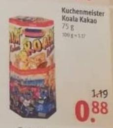 Kuchenmeister Koala Kakao 75g Ab 14 1 Fur 0 88 Bzw 0 80 Bei