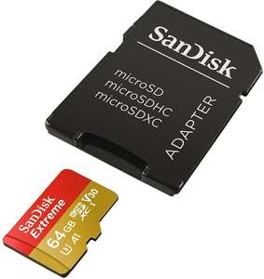 Speicherangebote: z.B. SanDisk Extreme A2 microSDXC 64GB 16€, Crucial P1 M.2 NVMe SSD 79€, Intenso Memory Center 4TB 77€