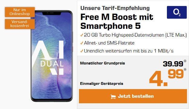 Huawei Mate 20 Pro + o2 Free M Boost  (Allnet- & SMS-Flat, 20 GB LTE, connect-Funktion) Grundpreis 39,99 € monatlich, 4,99 € Gerätepreis