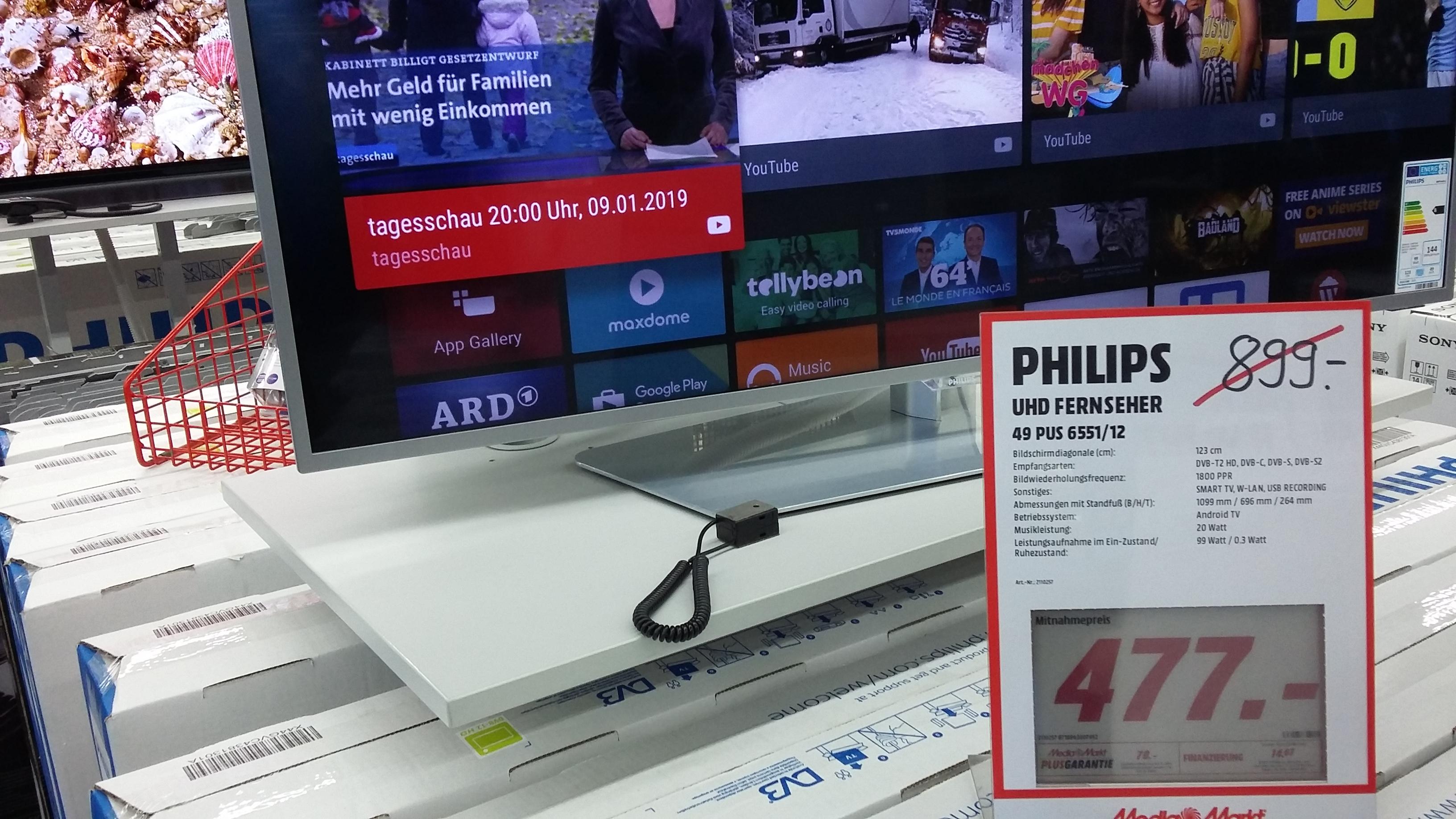 LOKAL Media Markt Flensburg Aussteller Philips TV 49PUS6551 100HZ Panel Direct LED Modell von 2016