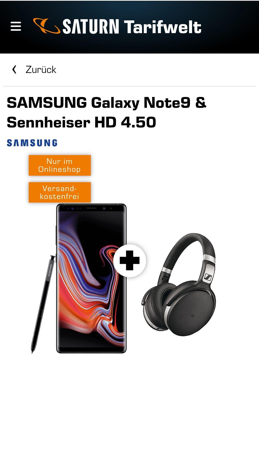 Samsung Galaxy Note 9 inkl. Sennheiser HD 4.50 - Vodafone - Mobilcom Debitel - Saturn
