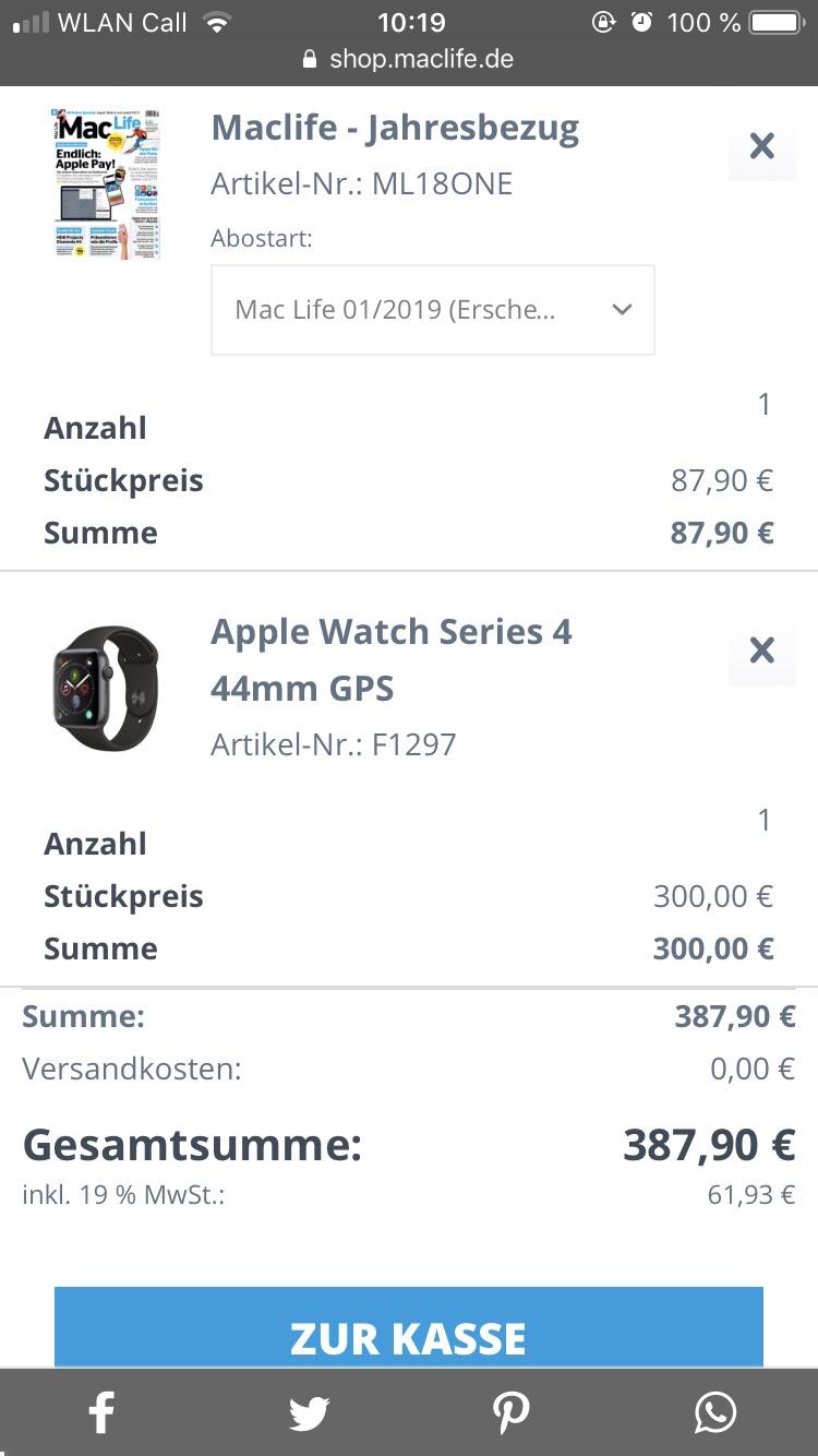 Apple Watch Series 4 44 mm GPS für 300€ Zuzahlung mit MacLife Abo