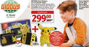(Globus bundesweit) Nintendo Switch Pikachu & Evoli Edition + Pokémon: Let's Go, Pikachu + Pokéball Plus + Angry Pikachu