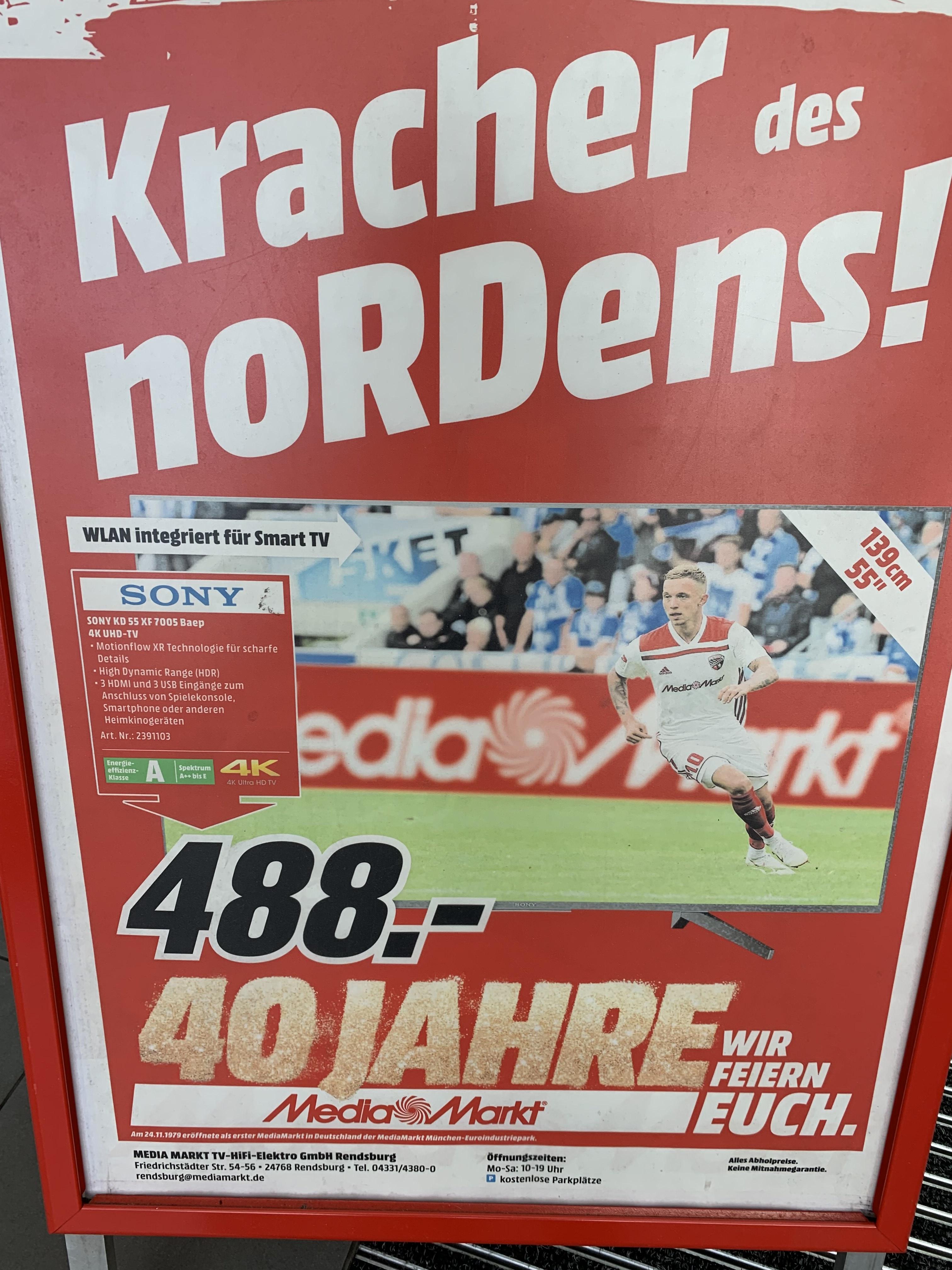 Sony KD 55 XF 7005 4K Fernseher im Media Markt Rendsburg