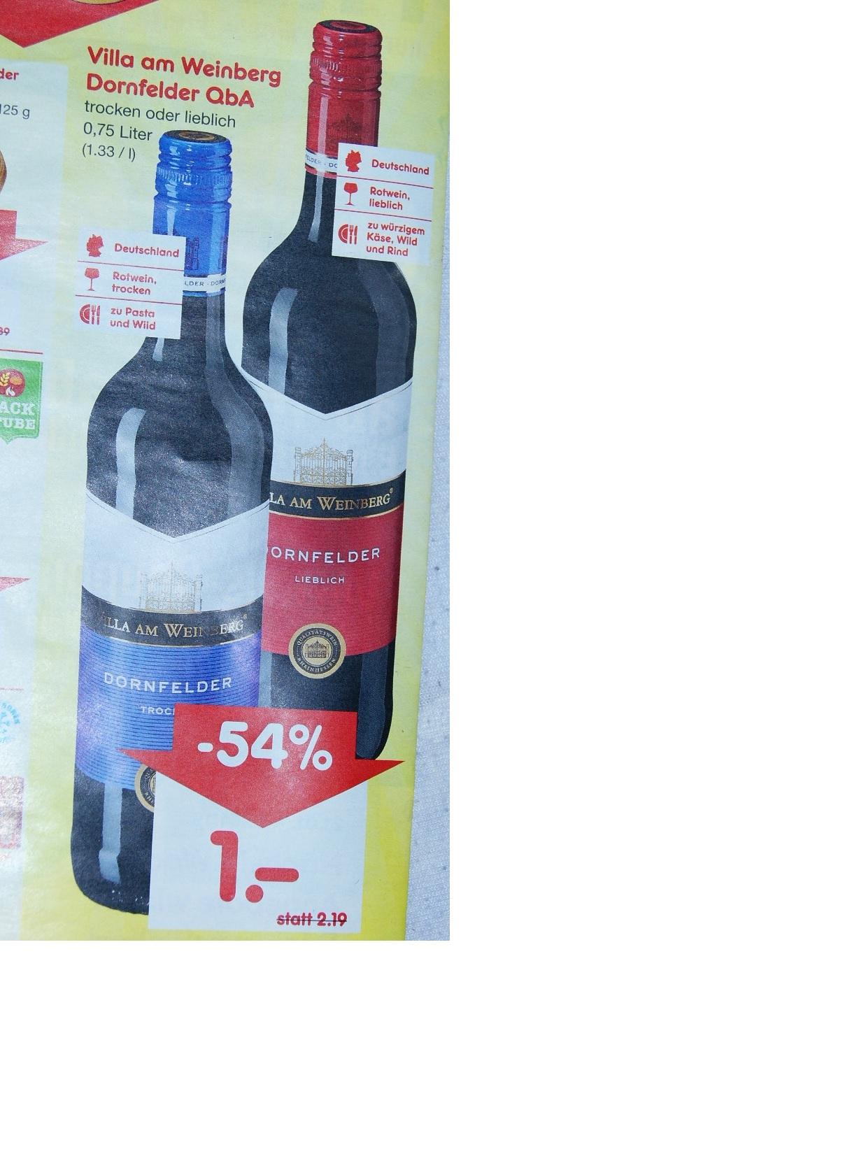 Dornfelder Wein 0,75 Liter für 1 € bei netto bundesweit am 19.1.19