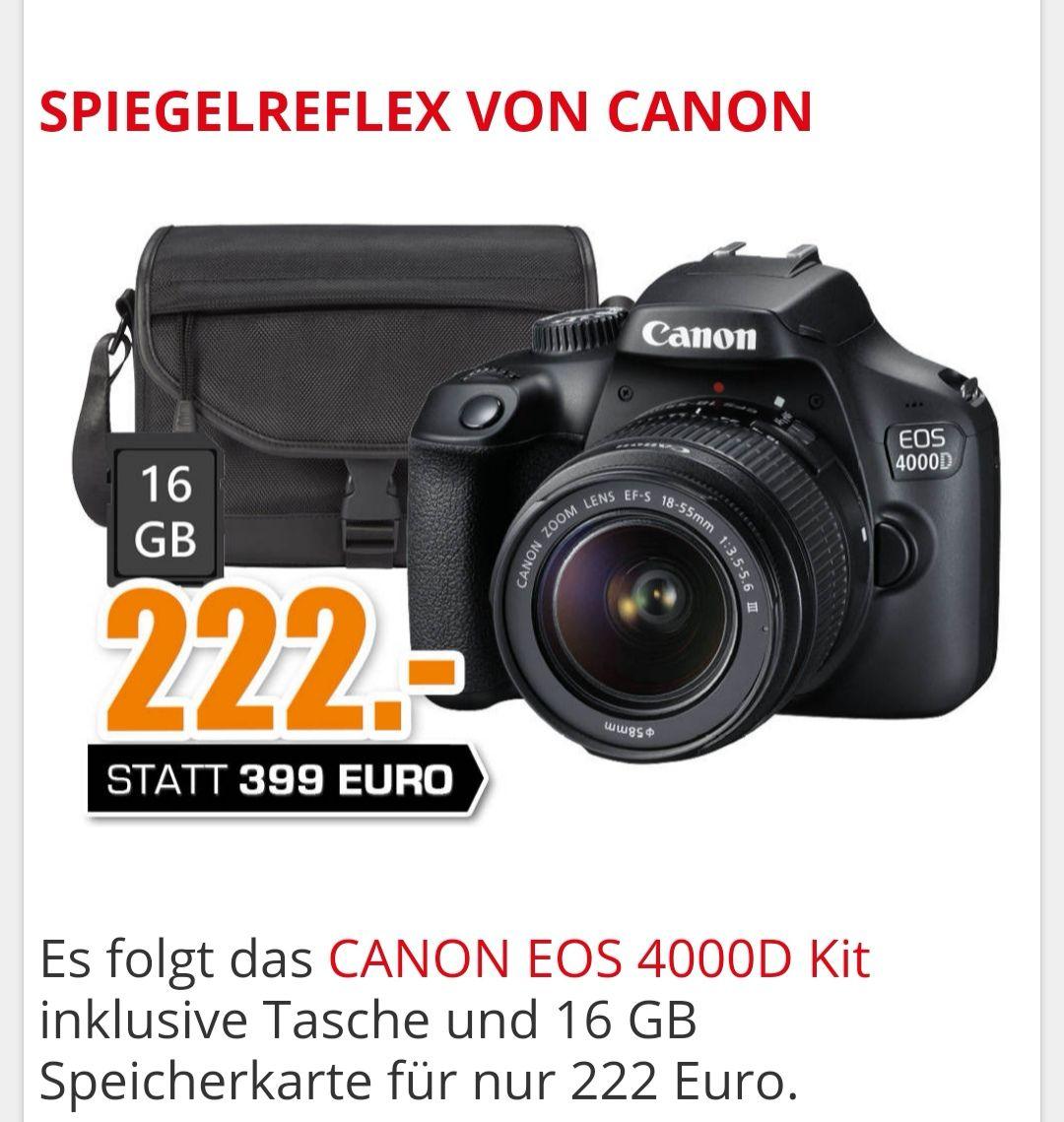 CANON EOS 4000D KIT Spiegelreflexkamera 18-55 MM OBJEKTIV INKL. TASCHE für 222€ [Lokal Saturn Chemnitz]
