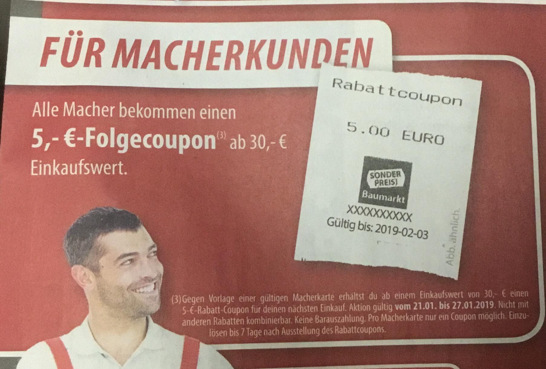 [Sonderpreisbaumarkt, offline] 5€ Rabatt ab 30€ Einkauf mit Kundenkarte