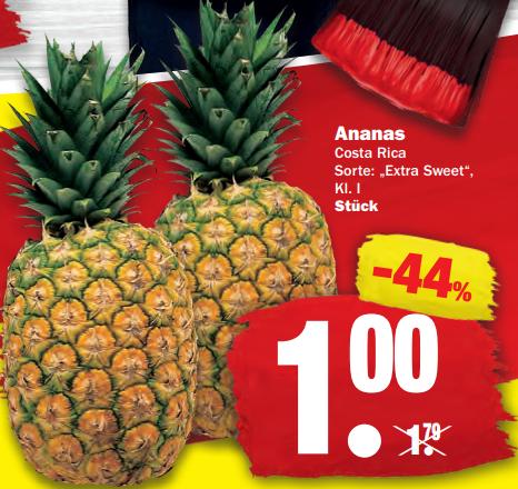 """Ananas in der Sorte """"Extra Sweet"""" (Klasse 1) für 1€ bei NP Discount und Edeka Center ab 14.01."""
