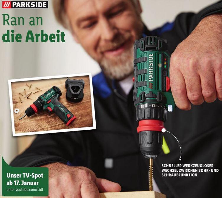 [LIDL online und offline] Parkside Akku-Bohrschrauber mit 12V (2Ah) baugleich mit Tacklife PCD01B