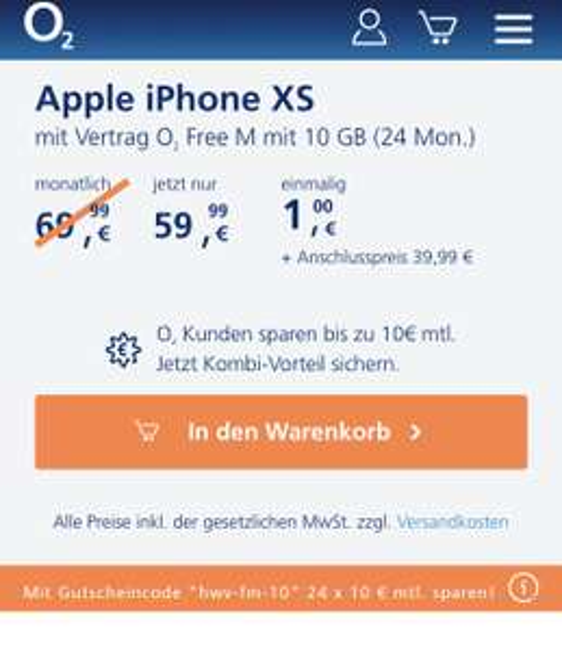 iPhone XS 64GB für 1€ Zuzahlung bei O2