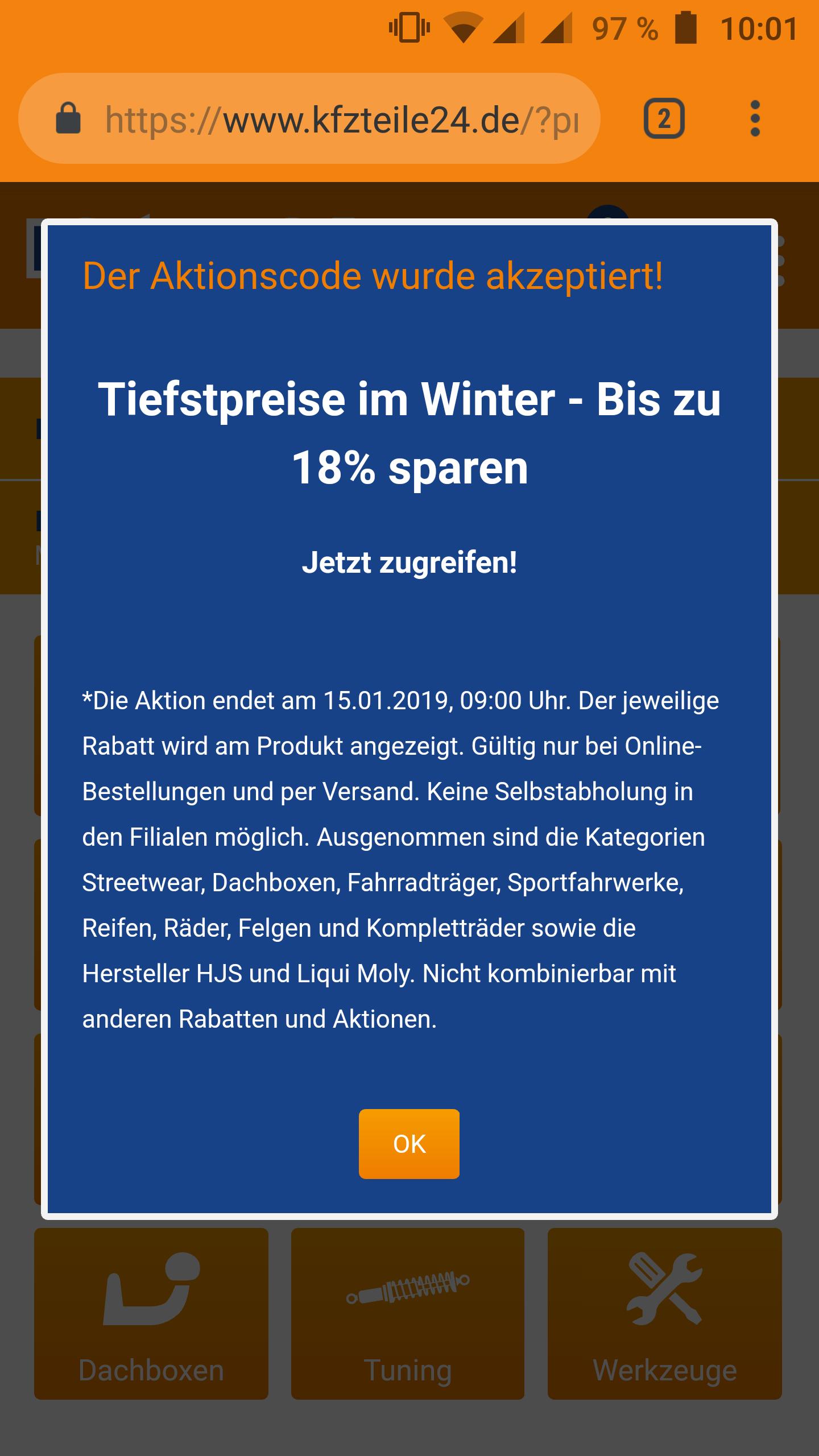kfzteile24 - bis zu 18% Rabatt bis 15.01.