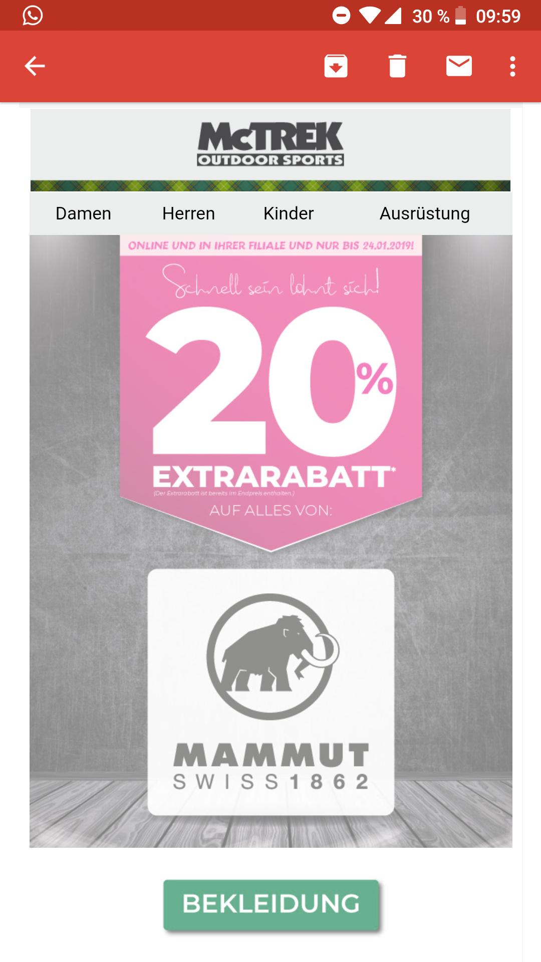 Mammut Sale bei McTrek online und offline. Mindestens 20 %