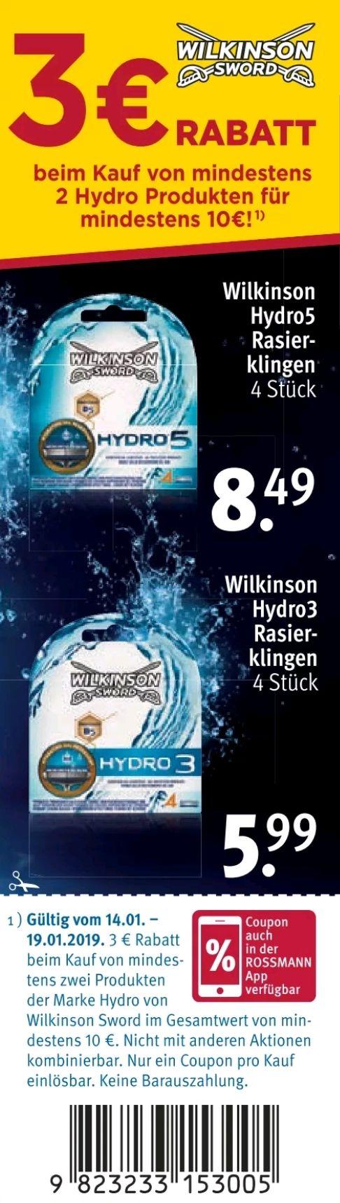 Rossmann: 3€ Sofort-Rabatt (+10% Gutschein) beim Kauf von mind. 2 Wilkinson Hydro Produkten für mind. 10€ (14.01. - 18.01.)