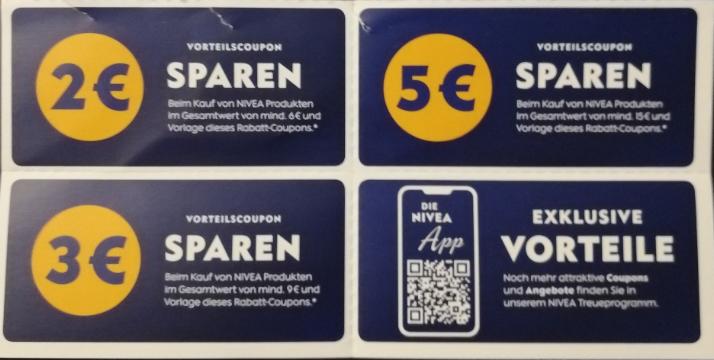 Nivea Vorteilscoupons, 2,-€ ab 6,-€, 3,-€ ab 9,-€ und 5,-€ ab 15,-€ sparen, auch kombinierbar