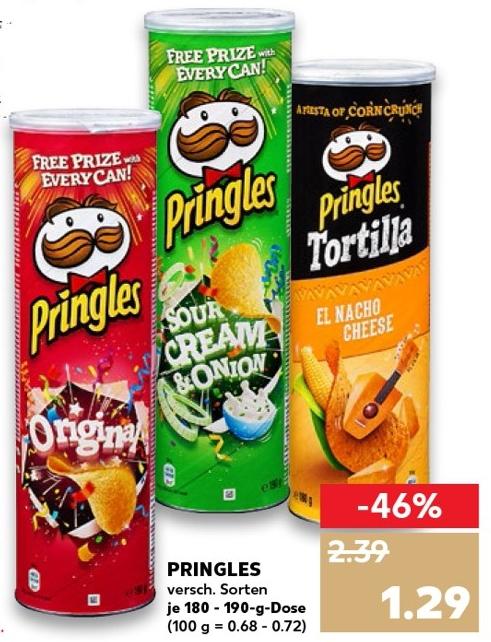 Kaufland - Pringles Chips verschiedene Sorten mit 180g/190g für 0,79€ (Angebot & Coupon)