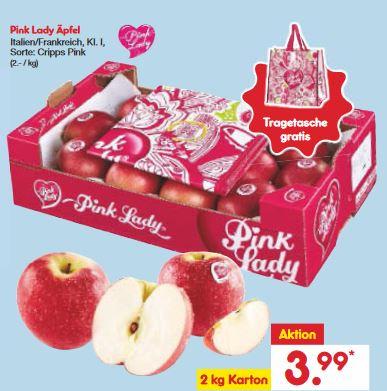 2kg Äpfel Pink Lady + passender Pink Lady Modetasche [ab Montag bei Netto]