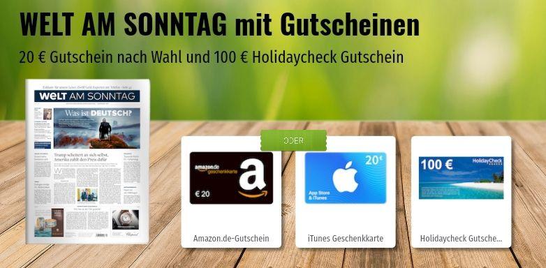 """""""Welt am Sonntag"""" Abo 3 Monate (13Ausgaben) für 44€ + 20€ Amazon/iTunes Gutschein + 100€ Holidaycheck Gutschein (Pauschalreise, ohne MBW!)"""
